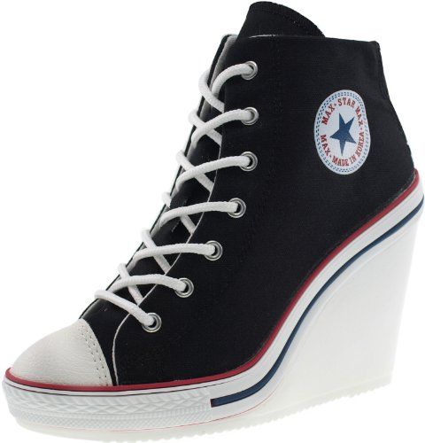 Maxstar Women's 777 Back Zipper Canvas High Wedge Heel Sneakers Black 10 B(M) US - High Heel Sneaker Shoes