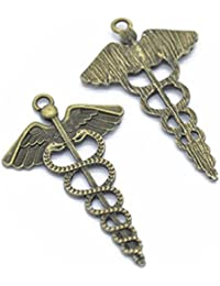 5 PCS Caduceus Medical Symbol , Wings Snakes Charms Pendant ,Bronze , Silver