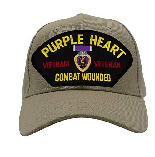 Patchtown Purple Heart - Vietnam Veteran Hat/Ballcap Adjustable One Size Fits Most (Multiple Colors & Styles) (Tan/Khaki, Add American Flag)