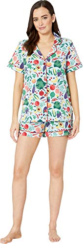 (BedHead Women's Short Sleeve Classic Short Pajama Set Fruits/Veggies)