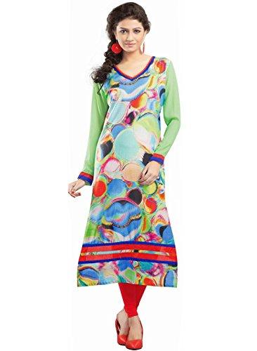 IndusDiva Women's Multicolor Cotton Straight Cut Kurta