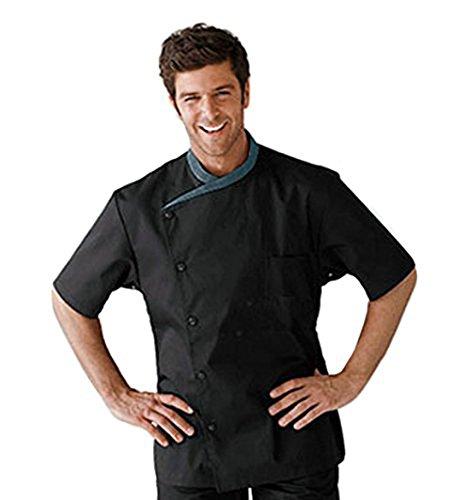 Seven Star S.S Summer Men's Black Short Sleeve Chef Coat,Chef Jacket Food Service Uniforms (L, -