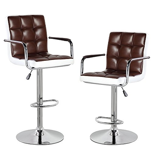 Modern Contemporary Leather Swivel Adjustable Height Bar Stools with Backs and Arms Set of 2 Brown White