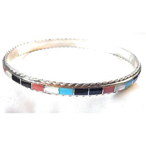 - Nizhoni Traders LLC Zuni Inlay Multi-Stone Sterling Silver Bangle Bracelet
