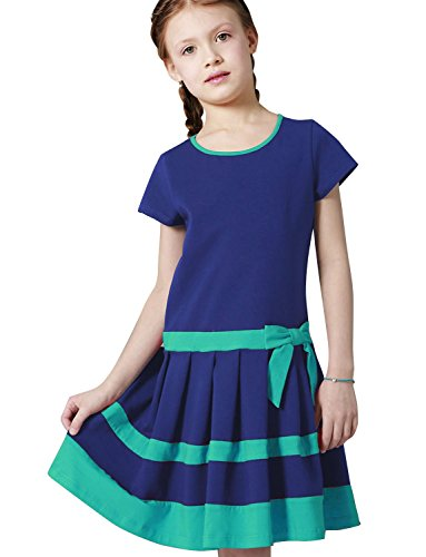 Amelia Armoire (Petite Amelia Girls Short Sleeve Swing Casual Party Bow Tie Dress, Size 5, Royal Blue and Teal)