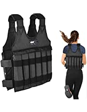 UINKISY Adjustable Weighted Vest Max Loading 110lbs, 12 Sandbags(Empty Pockets -Not Including Sand ), Wide Shoulder Design Exercise Vest, Outdoor Sports Vest for Running and Walking Exercises (Black)