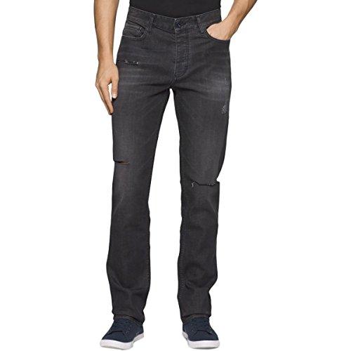 Metal Mens Jeans - Calvin Klein Men's Slim-Fit Destructed Jeans, Destructed Metal, 34 x 32