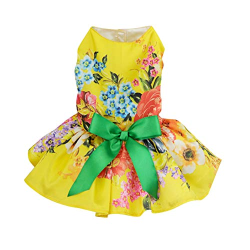 Adarl Summer Elegant Pet Dress for Dog Cat Princess Bowknot Tutu Dress Skirt Pet Costumes Apparel,Yellow/L]()