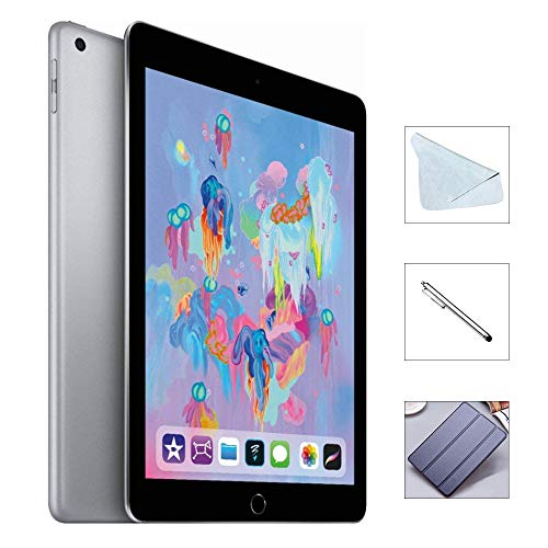 Apple iPad 6th Gen 128GB (2018 Model) with Saiborie 49 Value Accessories, Wi-Fi Only, 9.7 Retina Display, A10 Fusion chip, Touch ID, Apple Pay, Night Shift (Space Gray)