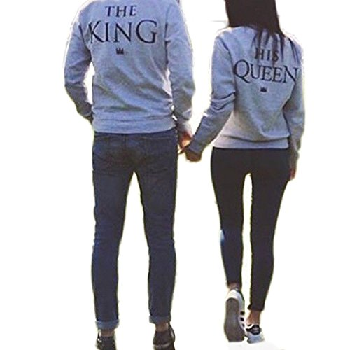 Ezfun The King And His Queen Grey Couple T-Shirt Round Neck Loose Couple Shirt,Grey-the King,Large ()