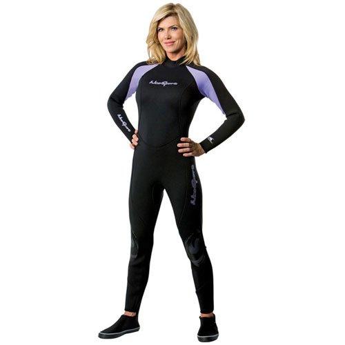 NeoSport Wetsuits Women's Premium Neoprene 7/5mm Full Suit, Lavender Trim, 4 - Diving, Snorkeling & Wakeboarding