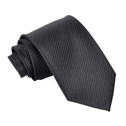 TANGDA Mens Casual Solid Silk Woven Party Wedding Neck Tie Black