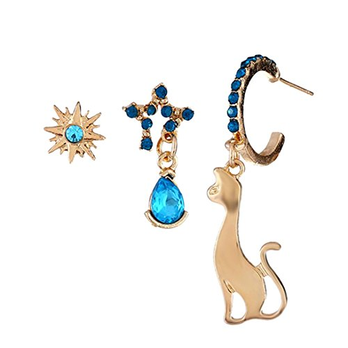 Diamond Encrusted Hoop - Hatoys 3pc Fashion Diamond-encrusted cat earring (Multicolor)