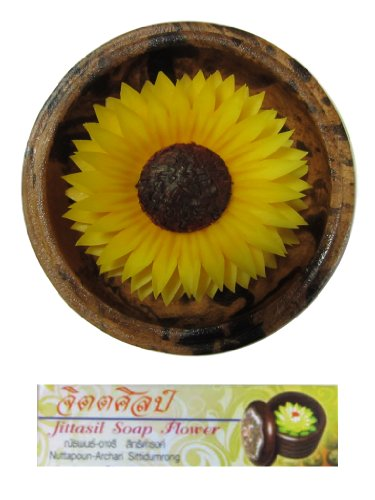 Jittasil Thai Hand-Carved Soap Flower, 4 Inch Scented Soap Carving Gift-Set, SunFlower In Decorative Mango Wood Case