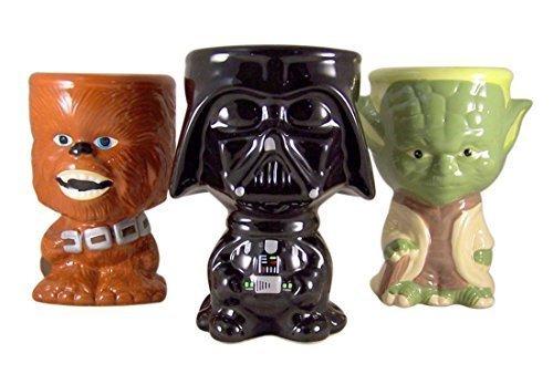 Star Wars Gift Set of 3 Darth Vader Chewbacca and Yoda 10 Ounce Drink Mug Goblet