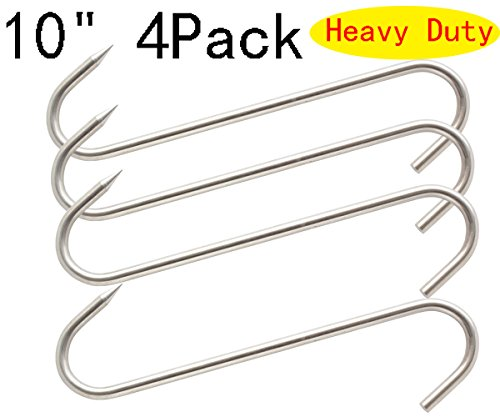 "10"" Meat Hook Heavy Duty S-Hooks Stainless Steel Meat Processing Butcher Hook 4Pack"
