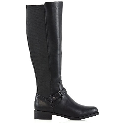 Zip Size Womens Leg ESSEX GLAM High Synthetic Black New Buckle Leather Low Ladies Knee Flat Boots Heel Stretch Calf EqzZq