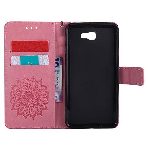 Carcasas y fundas Móviles, Para Samsung Galaxy J7 Prime Case, Sun Flower Diseño de la impresión PU cuero Flip Wallet funda protectora con ranura para tarjeta / soporte para Samsung Galaxy J7 Prime / O Pink