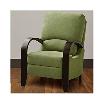 Contemporary Green Bent Arm Recliner with Wood Arms Is Modern Comtemporary Piece of Home Furniture These Chairs Provide Comfort, Style and Elegance and Add a Touch of Class to Your Home Decor. The Reclining Chair Features a Two Position Reclining Push Back Mechanism.
