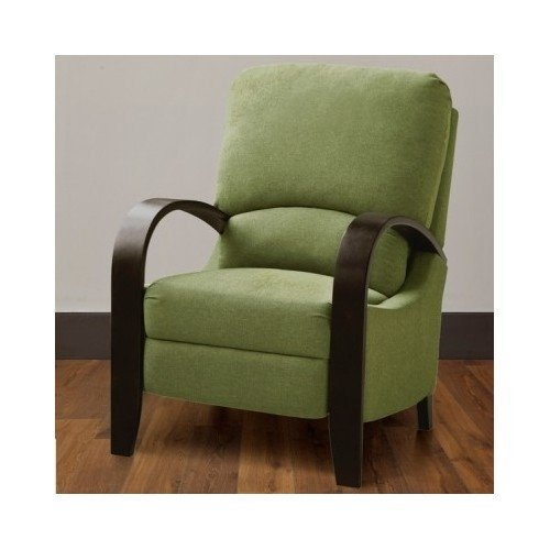 (Contemporary Green Bent Arm Recliner with Wood Arms Is Modern Comtemporary Piece of Home Furniture These Chairs Provide Comfort, Style and Elegance and Add a Touch of Class to Your Home Decor. The Reclining Chair Features a Two Position Reclining Push Back Mechanism.)