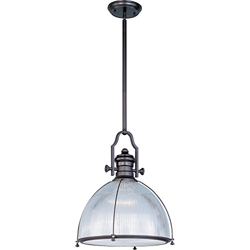 (Maxim 25004CLBZ Hi-Bay 1-Light Pendant, Bronze Finish, Clear Halophane Glass, MB Incandescent Incandescent Bulb , 100W Max., Dry Safety Rating, Standard Dimmable, Glass Shade Material, 5750 Rated)