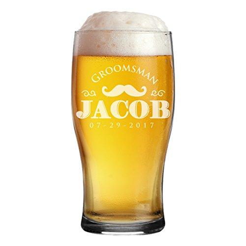 Monogrammed Etched Pilsner Beer Mug Pub Glass - Custom Engraved Personalized Groomsmen Beer Glasses Gifts - 20 oz