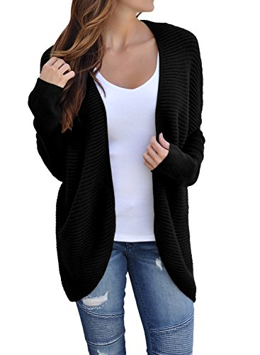 Women's Casual Long Sleeve Open Front Cardigans Ribbed Knit Sweaters Loose Lace Up Back Oversized Outerwear Coat Black Plus Size XL 16 18 by Dearlove