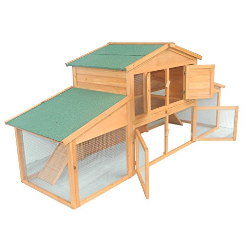 Pawhut-91-Deluxe-Large-Wooden-Bunny-Rabbit-Hutch-Chicken-Coop-w-Outdoor-Run