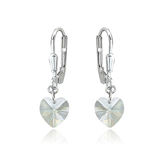 - Sterling Silver Clear Dainty Heart Dangle Leverback Earrings Made with Swarovski Crystals