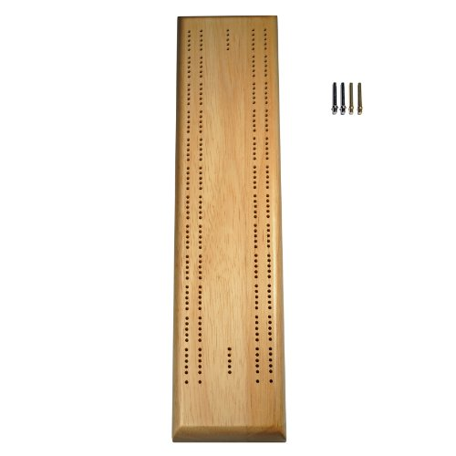 WE Games Competition Cribbage Set - Solid Wood Sprint 2 Track Board with Metal Pegs