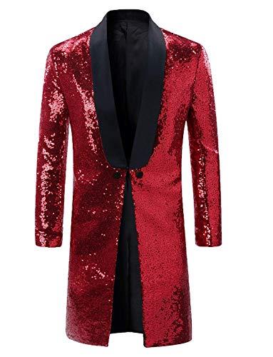 Men Sequin Dress Coat Swallowtail Dinner Party Burgundy Wedding Blazer Suit Jacket for -
