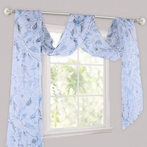 HOLKING Blue Birds Curtain Scarf for Windows - Sheer Window Scarf Valance(216 inch Long,One Panel)