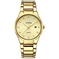 WWOOR Store Men's Watch Analog Quartz Waterproof Watch with Date Fashion Business Stainless Steel Casual Wrist Watches (Black) (Gold)