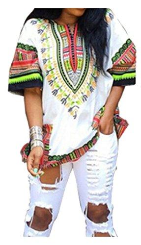 Jaycargogo Women African s Dress White T Shirt Casual Print Mini Bohemian rrR4Wn6
