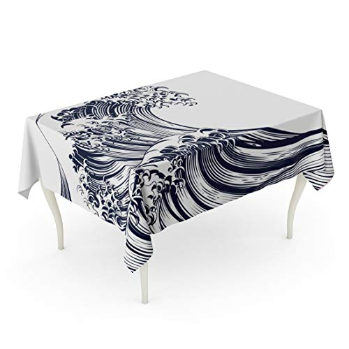 Tarolo Rectangle Tablecloth 60 x 90 Inch Blue Kanagawa Oriental Japanese Great Wave in Vintage Retro Engraved Etching Woodcut Chinese Ink Table - Woodcut Chinese