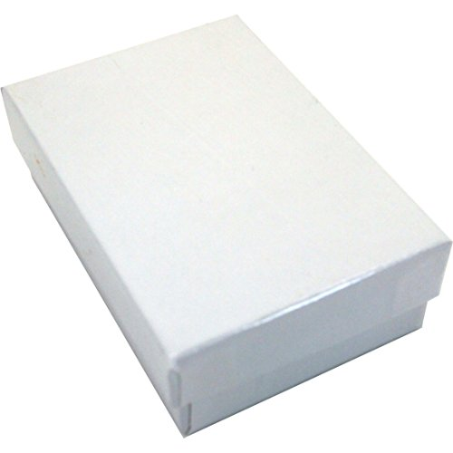 100 Cotton Boxes White Pendant Chain Jewelry Displays 3.25