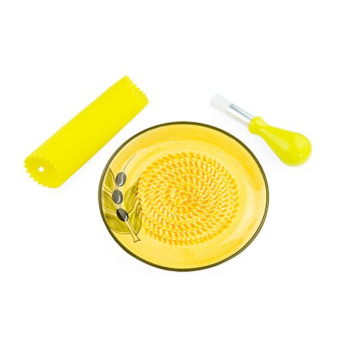 Grater Plate - Ceramic Garlic Grater - Yellow With Olive Design
