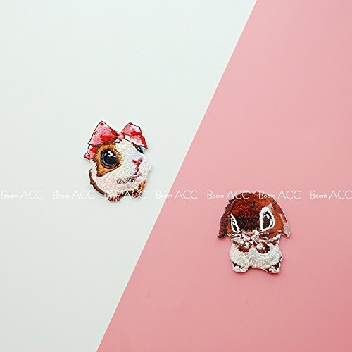 Meng excited guinea pigs chinchillas lop rabbit animal cute bow embroidered patch affixed stickers affixed cloth hand account ()