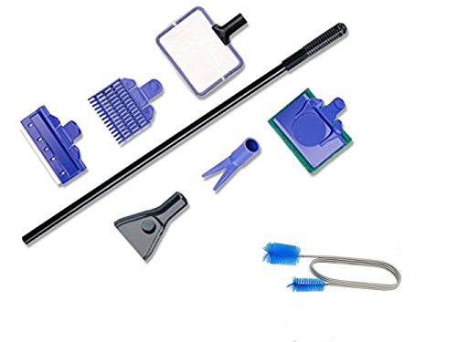 OUFISH Aquarium Clean Tool Fish Tank Cleaning Set Kit(Fish Net + Gravel Rake +Plant Fork + Sponge+ Scraper 5 in 1)& Fish Tank Filter Brush Flexible Double Ended Hose Pipe Cleaner by OUFISH
