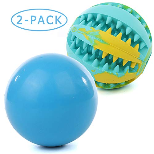 Hake's Toys Indestructible Dog Balls Dog Toys-100% Non-Toxic Rubber High Elastic Ball with IQ Dog Treat Ball, for Pet…