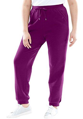 Women's Plus Size Petite Fleece Jogger Sweatpants Boysenberry,5X (Sporty Knit Capris)