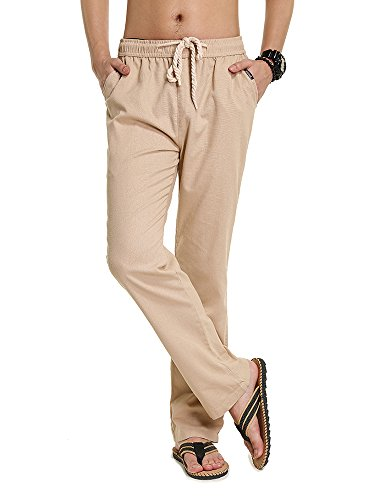 SOIXANTE Men's Casual Linen Pants Elastic Waist Trousers with Drawstring XS-2XL