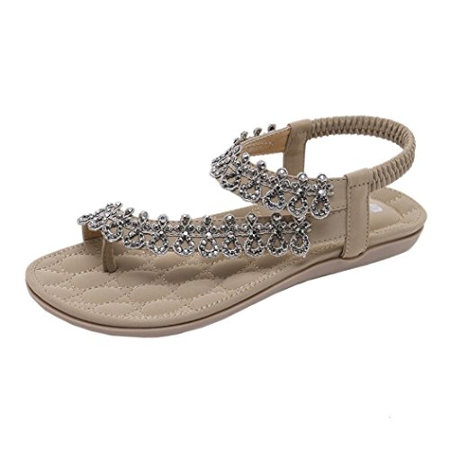 Sandals for Womens, FORUU Bohemia Girls Flower Rhinestone Flat Outdoor Shoes (7.5, Khaki)