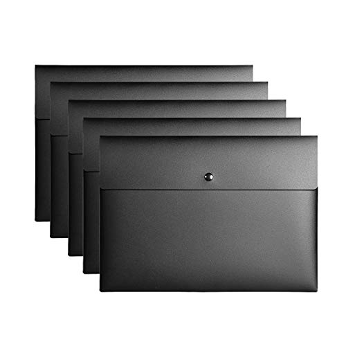 - VANRA Poly File Folder Pockets File Jacket Plastic Envelope Flat Document Letter Organizer with Snap Button Closure A4 Letter Size (Pack of 5, Black)