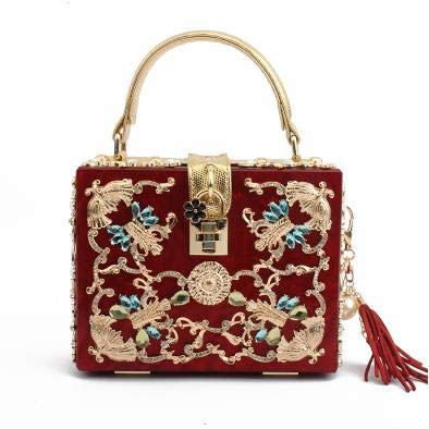 Lock Retro Women's Fashion Flap Box Handbag Wine Pink Shoulder Hollow Design Mini Carved Diamond Luxury pu Messenger Bag Acrylic Bzuma xqwnvIXz