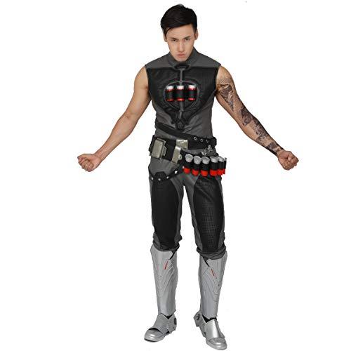 Halloween Reaper Waistcoat OW Deluxe Cosplay Costume Gabriel Reyes Game Anime Vest ()