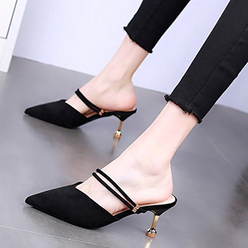8Cm Heeled Sexy Women Wear Belt No Word KPHY And Summer Slippers Baotou Back High Black Heels One Thin Wild Shoes Drag Cool Swv5gBvq