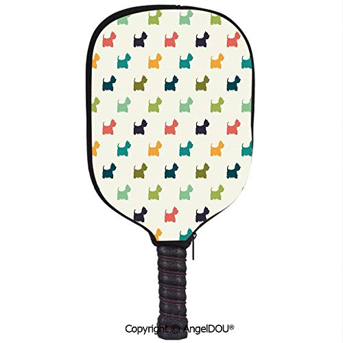 - AngelDOU Dog Lover Soft Neoprene Pickleball Paddle Racket Cover Case Polka Dotted Animal Silhouettes English Terriers Cute Abstract Pattern Image Decorative Fit for Most Rackets.Multicolor
