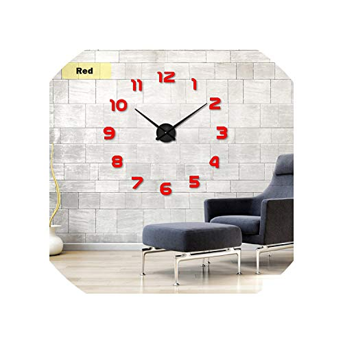 2019 New Metall Moderne 3D DIY Wall Clock Acrylic Evr Metal Mirror Home Decoration Super Big 130Cm X 130 cm Factory,Red,47 Inch