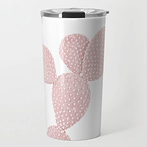 Society6 Stainless Steel Travel Coffee Mug, 20 oz, Blush Pink Cactus by katypie